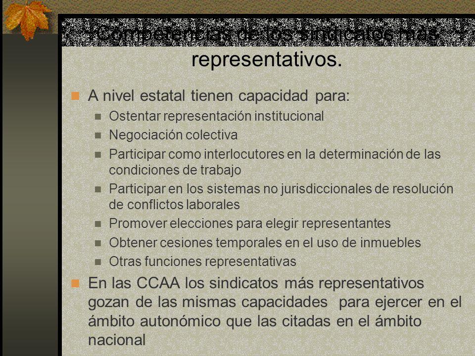 Competencias de los sindicatos más representativos. A nivel estatal tienen capacidad para: Ostentar representación institucional Negociación colectiva