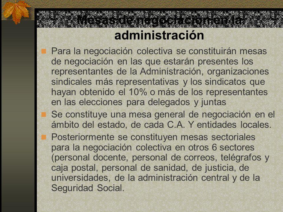 Mesas de negociación en la administración Para la negociación colectiva se constituirán mesas de negociación en las que estarán presentes los represen