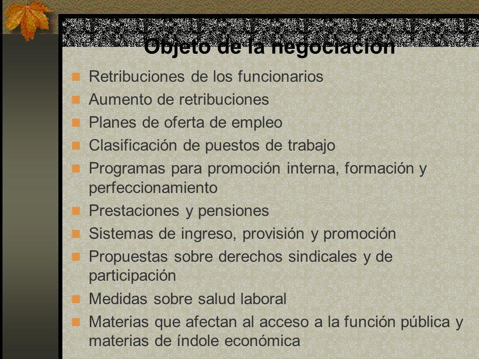 Objeto de la negociación Retribuciones de los funcionarios Aumento de retribuciones Planes de oferta de empleo Clasificación de puestos de trabajo Pro