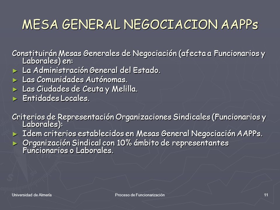 Universidad de AlmeríaProceso de Funcionarización11 MESA GENERAL NEGOCIACION AAPPs Constituirán Mesas Generales de Negociación (afecta a Funcionarios