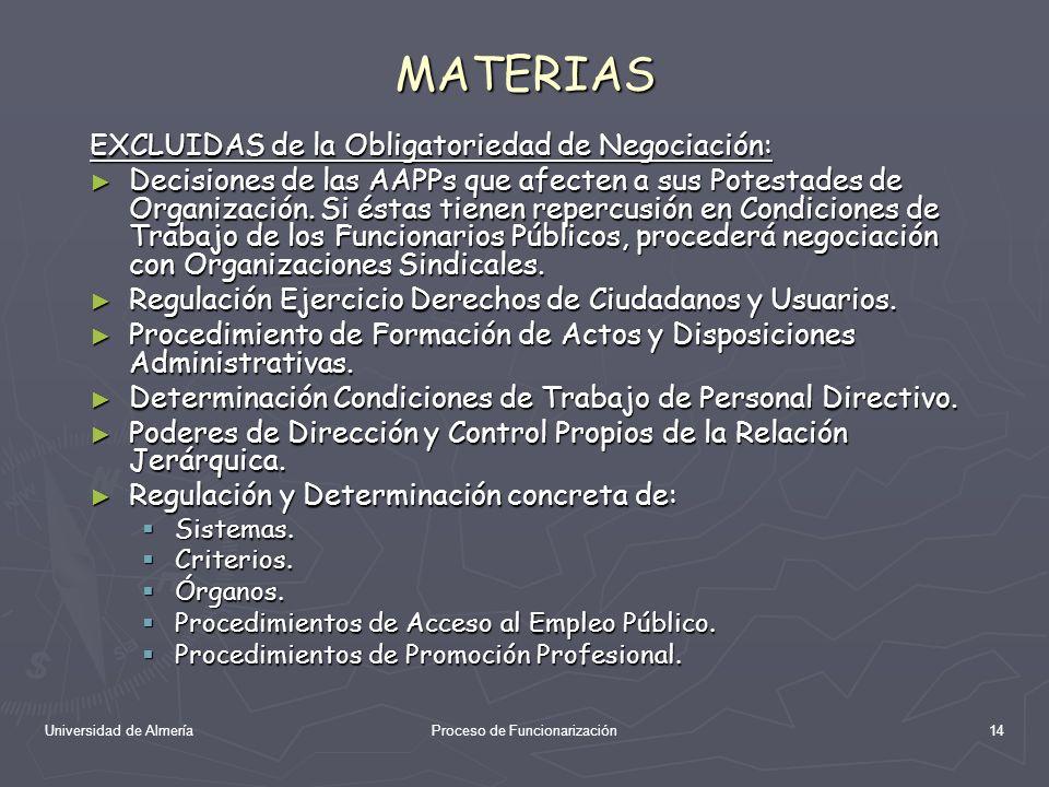 Universidad de AlmeríaProceso de Funcionarización14 MATERIAS EXCLUIDAS de la Obligatoriedad de Negociación: Decisiones de las AAPPs que afecten a sus