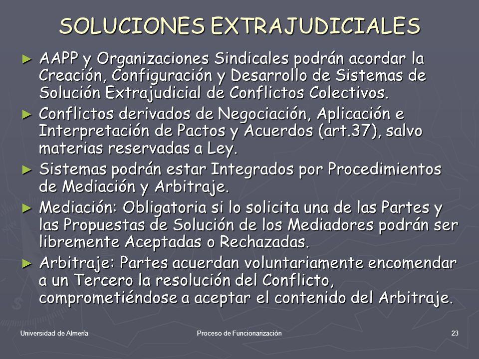 Universidad de AlmeríaProceso de Funcionarización23 SOLUCIONES EXTRAJUDICIALES AAPP y Organizaciones Sindicales podrán acordar la Creación, Configurac