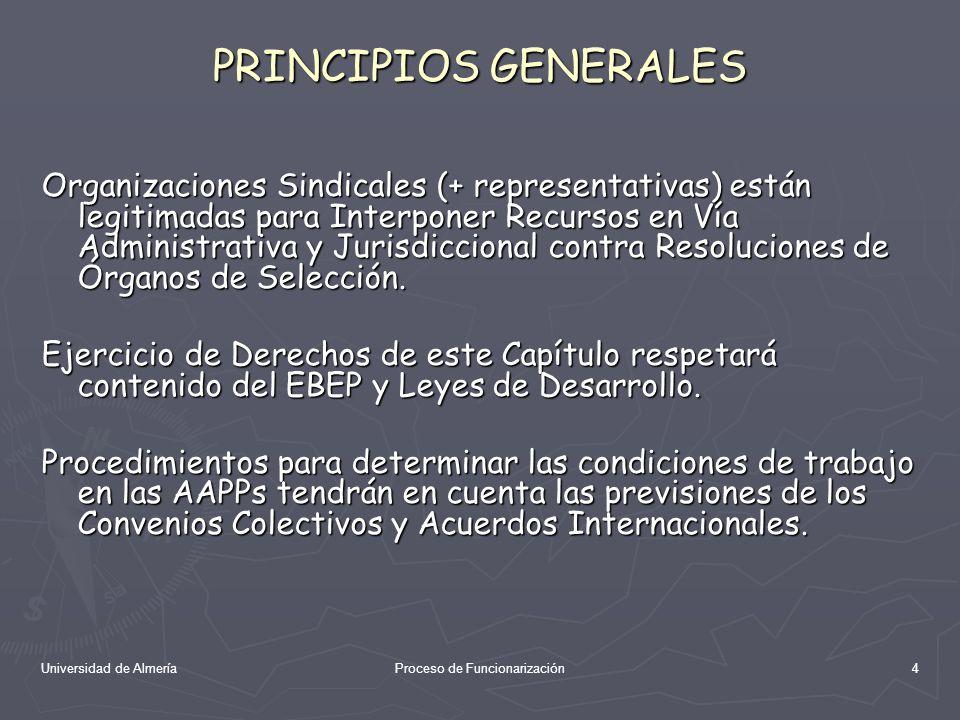 Universidad de AlmeríaProceso de Funcionarización15 PACTOS Y ACUERDOS Mesas de Negociación se podrán concertar Pactos y Acuerdos sobre determinación de condiciones de trabajo de los Funcionarios (en cada ámbito).