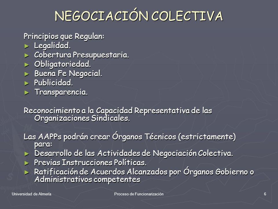 Universidad de AlmeríaProceso de Funcionarización6 NEGOCIACIÓN COLECTIVA Principios que Regulan: Legalidad. Legalidad. Cobertura Presupuestaria. Cober