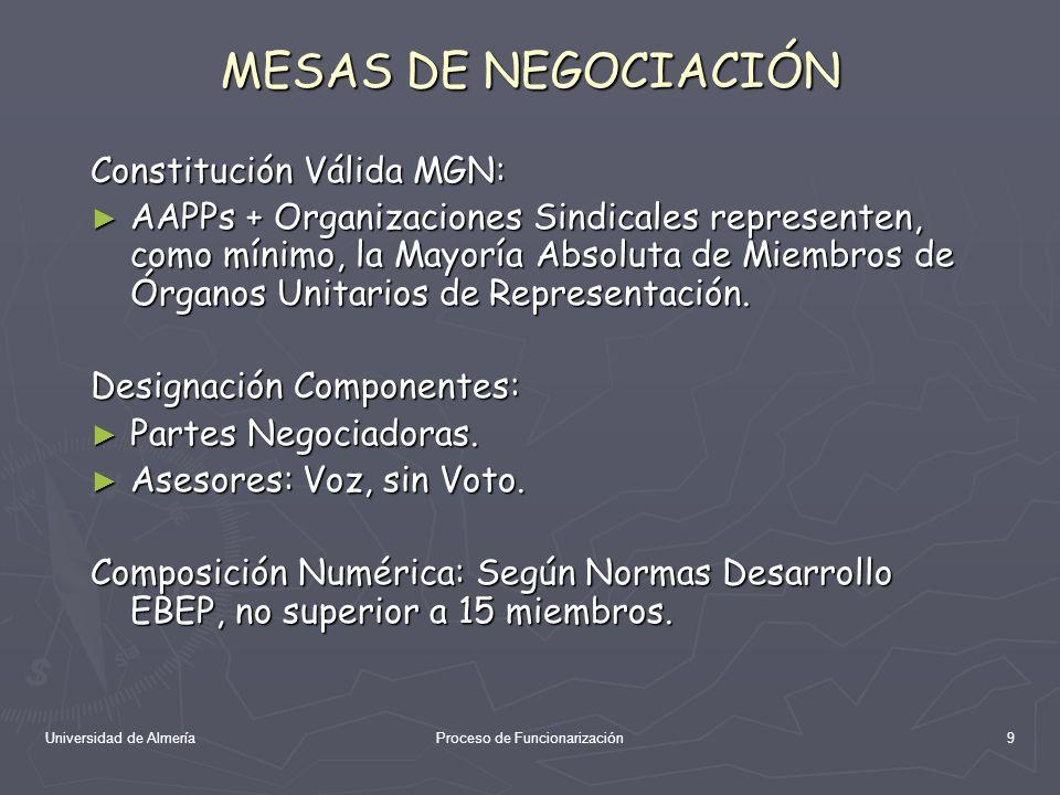 Universidad de AlmeríaProceso de Funcionarización10 MESA GENERAL NEGOCIACION AAPPs Constituye Mesa General de Negociación de las AAPPs (afecta a Funcionarios y Laborales): Representación Unitaria: Preside AGE, Representantes CCAAs, FEMP y Ceuta y Melilla.