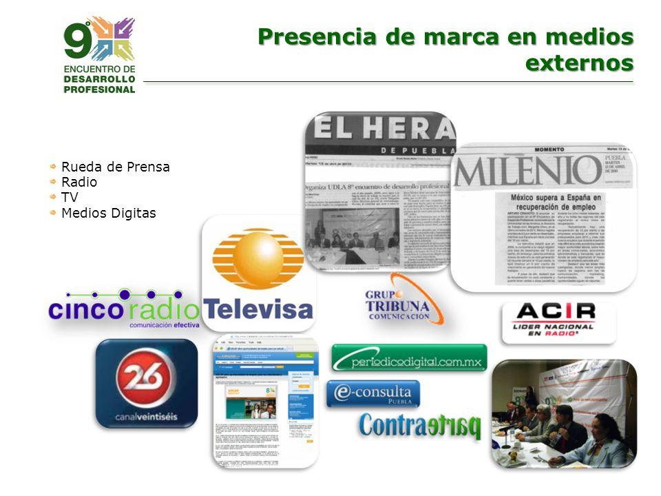 Rueda de Prensa Radio TV Medios Digitas Presencia de marca en medios externos