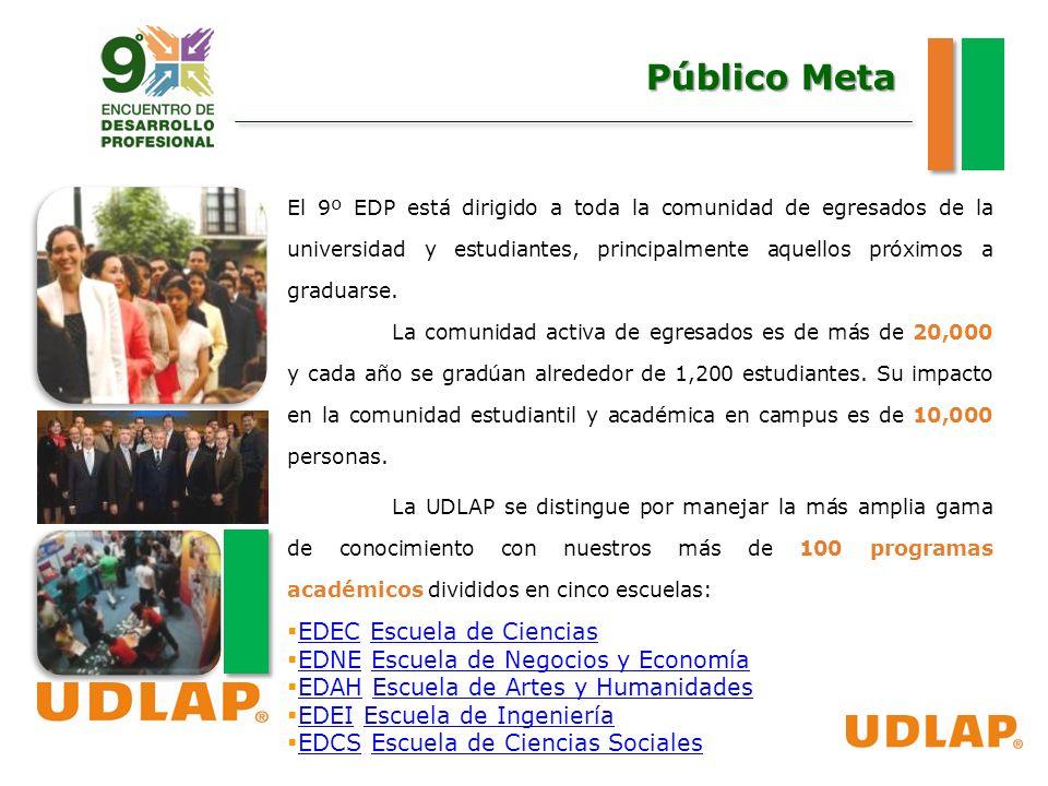 Público Meta El 9º EDP está dirigido a toda la comunidad de egresados de la universidad y estudiantes, principalmente aquellos próximos a graduarse.