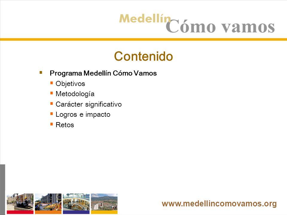 Medellín Cómo Vamos El programa Medellín Cómo Vamos es una iniciativa privada que tiene como objetivo principal hacer seguimiento y evaluación a la calidad de vida en la ciudad de Medellín.