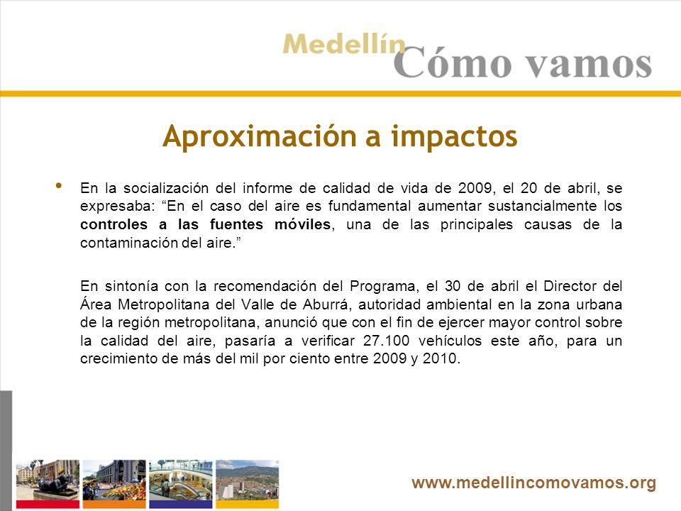Aproximación a impactos En la socialización del informe de calidad de vida de 2009, el 20 de abril, se expresaba: En el caso del aire es fundamental aumentar sustancialmente los controles a las fuentes móviles, una de las principales causas de la contaminación del aire.