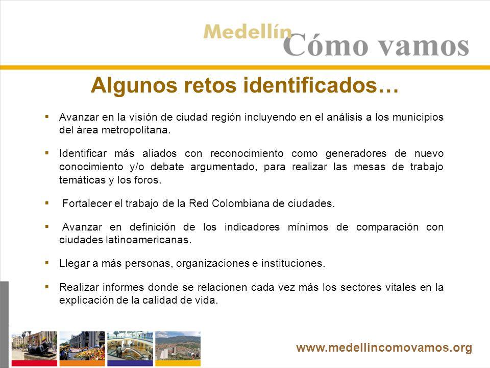 Algunos retos identificados… Avanzar en la visión de ciudad región incluyendo en el análisis a los municipios del área metropolitana.