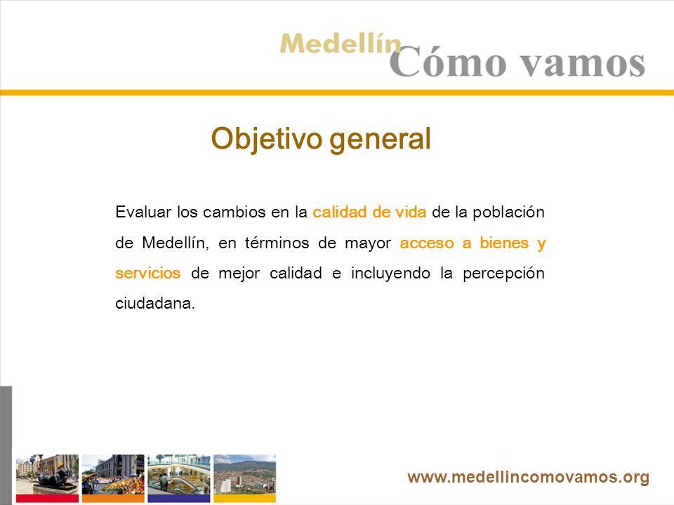 Evaluar los cambios en la calidad de vida de la población de Medellín, en términos de mayor acceso a bienes y servicios de mejor calidad e incluyendo la percepción ciudadana.