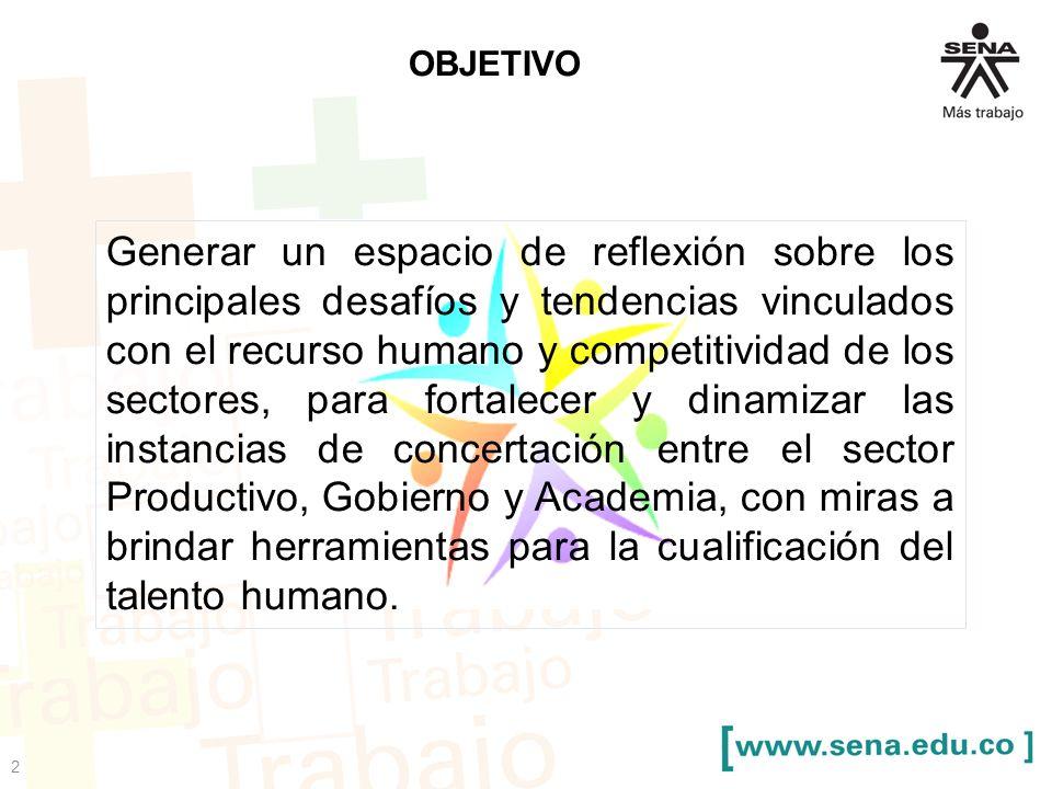 2 OBJETIVO Generar un espacio de reflexión sobre los principales desafíos y tendencias vinculados con el recurso humano y competitividad de los sector