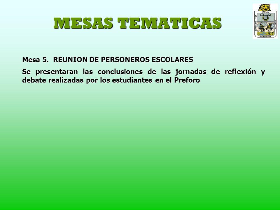 MESAS TEMATICAS Mesa 5.