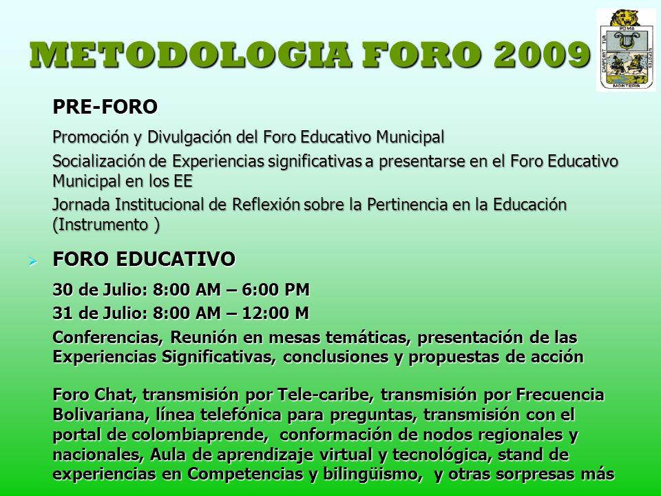 METODOLOGIA FORO 2009 PRE-FORO Promoción y Divulgación del Foro Educativo Municipal Socialización de Experiencias significativas a presentarse en el Foro Educativo Municipal en los EE Jornada Institucional de Reflexión sobre la Pertinencia en la Educación (Instrumento ) FORO EDUCATIVO FORO EDUCATIVO 30 de Julio: 8:00 AM – 6:00 PM 31 de Julio: 8:00 AM – 12:00 M Conferencias, Reunión en mesas temáticas, presentación de las Experiencias Significativas, conclusiones y propuestas de acción Foro Chat, transmisión por Tele-caribe, transmisión por Frecuencia Bolivariana, línea telefónica para preguntas, transmisión con el portal de colombiaprende, conformación de nodos regionales y nacionales, Aula de aprendizaje virtual y tecnológica, stand de experiencias en Competencias y bilingüismo, y otras sorpresas más