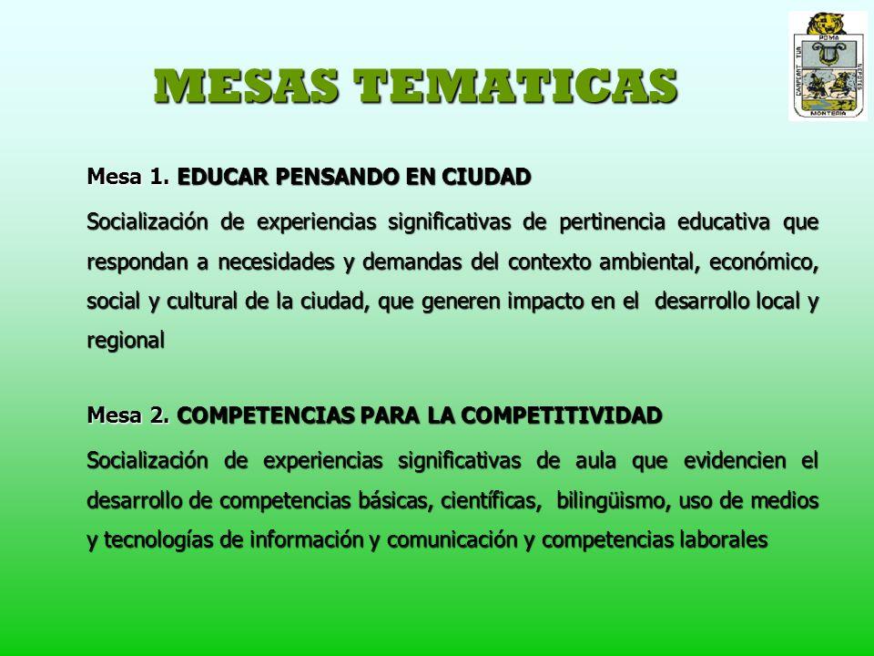 MESAS TEMATICAS Mesa 1.