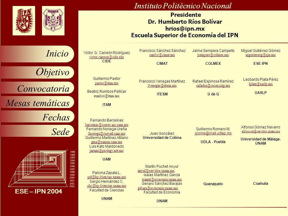 Instituto Politécnico Nacional Convocatoria Mesas temáticas Fechas Sede O bjetivo Inicio ESE – IPN 2004 1988 1989 1993 1994 1995 1996 1997 1998 1999 2000 2001 2002 2003 Presidente Dr.