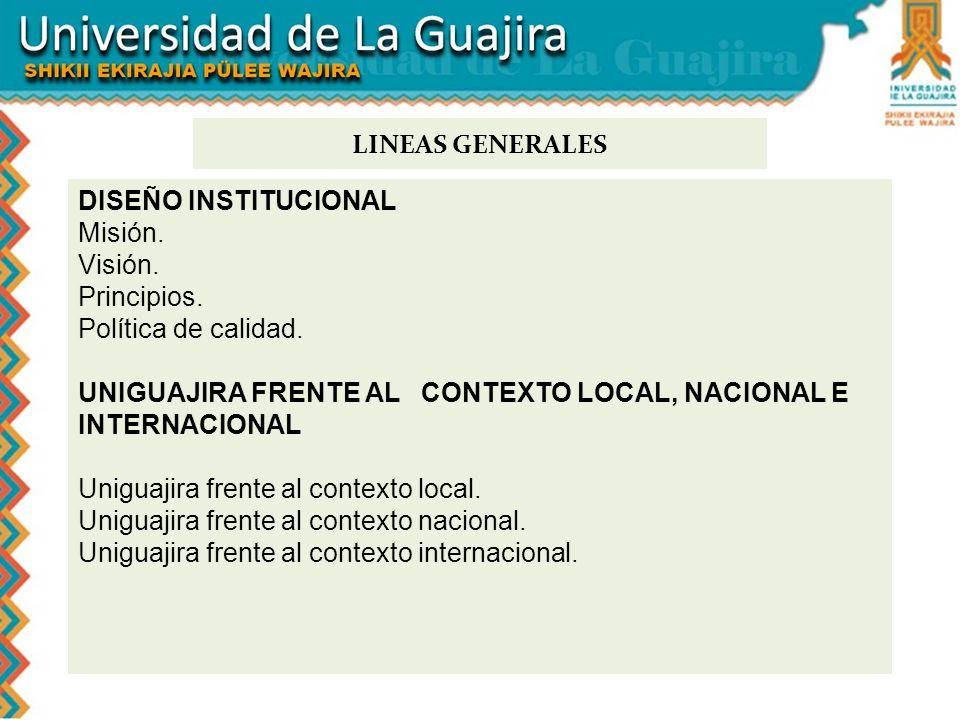 DISEÑO INSTITUCIONAL Misión. Visión. Principios. Política de calidad. UNIGUAJIRA FRENTE AL CONTEXTO LOCAL, NACIONAL E INTERNACIONAL Uniguajira frente