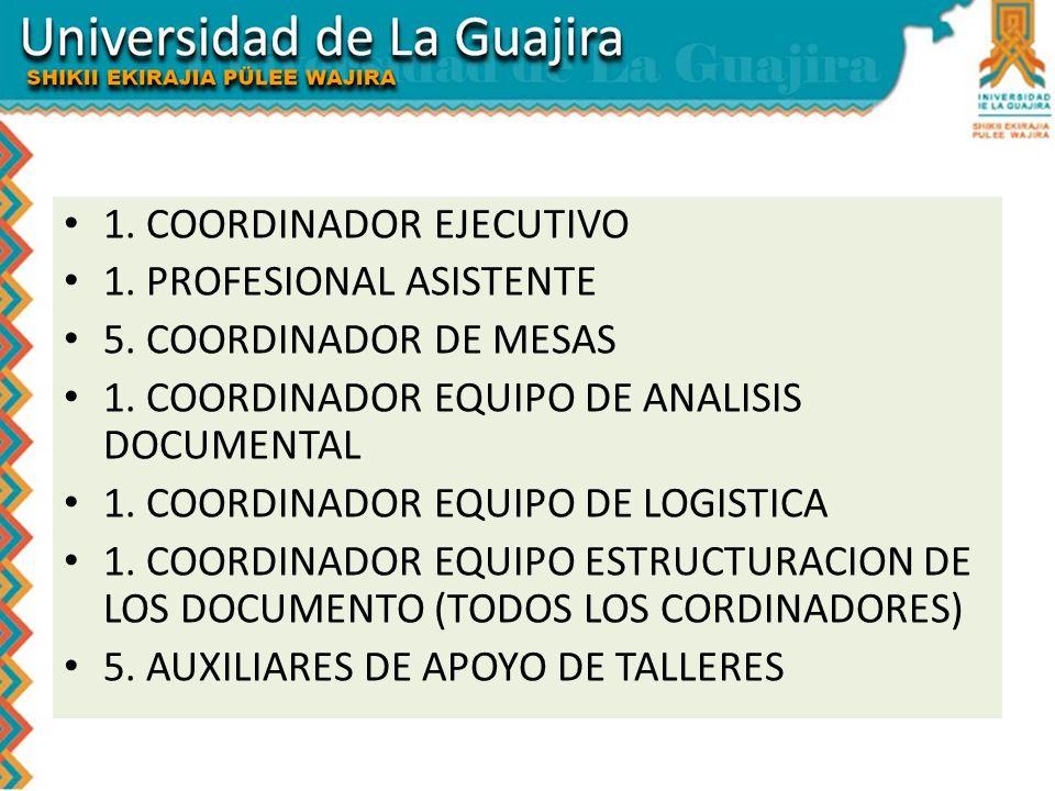 1. COORDINADOR EJECUTIVO 1. PROFESIONAL ASISTENTE 5. COORDINADOR DE MESAS 1. COORDINADOR EQUIPO DE ANALISIS DOCUMENTAL 1. COORDINADOR EQUIPO DE LOGIST
