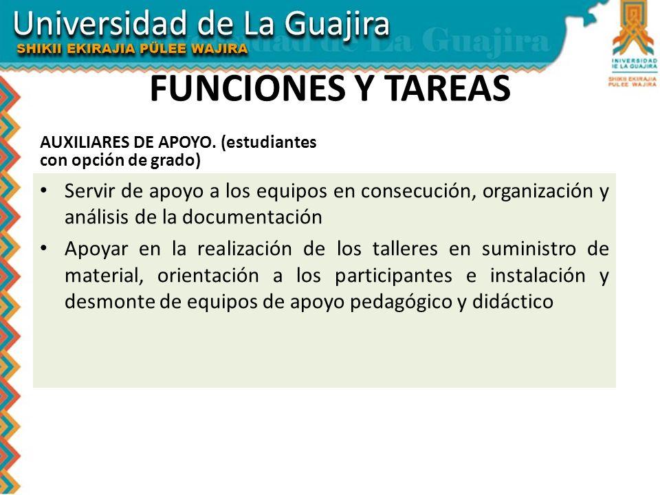 FUNCIONES Y TAREAS AUXILIARES DE APOYO. (estudiantes con opción de grado) Servir de apoyo a los equipos en consecución, organización y análisis de la