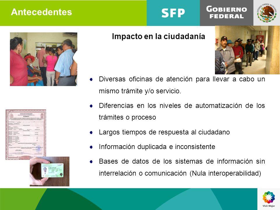 Antecedentes Impacto en la ciudadanía Diversas oficinas de atención para llevar a cabo un mismo trámite y/o servicio. Diferencias en los niveles de au