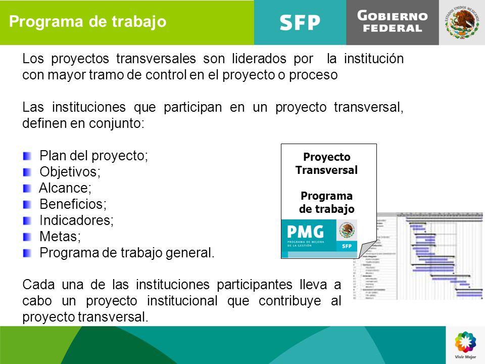 Programa de trabajo Los proyectos transversales son liderados por la institución con mayor tramo de control en el proyecto o proceso Las instituciones