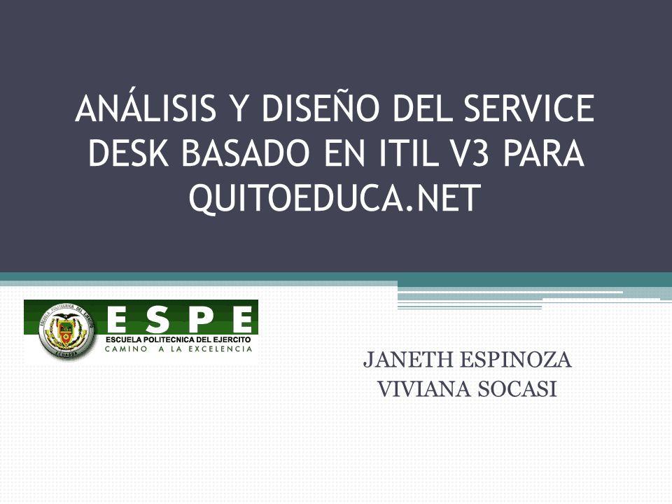 ANÁLISIS Y DISEÑO DEL SERVICE DESK BASADO EN ITIL V3 PARA QUITOEDUCA.NET JANETH ESPINOZA VIVIANA SOCASI