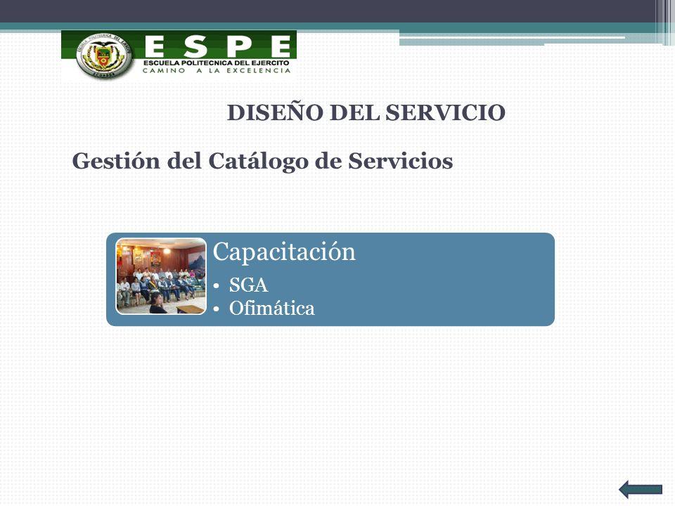 Gestión del Catálogo de Servicios DISEÑO DEL SERVICIO Capacitación SGA Ofimática