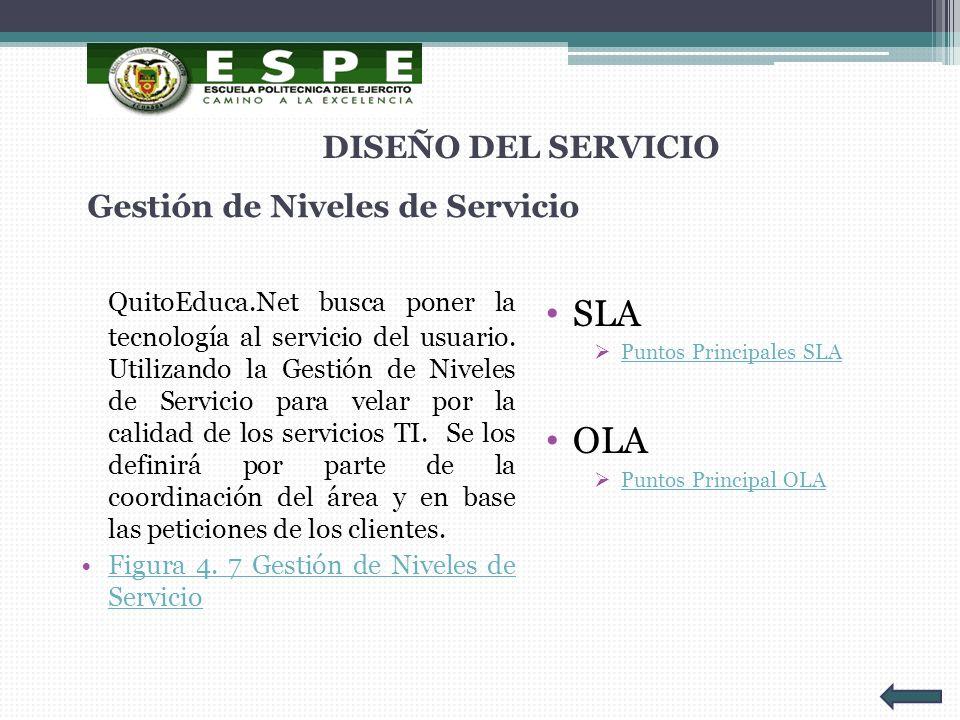 Gestión de Niveles de Servicio QuitoEduca.Net busca poner la tecnología al servicio del usuario. Utilizando la Gestión de Niveles de Servicio para vel