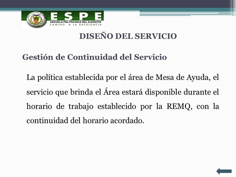 Gestión de Continuidad del Servicio La política establecida por el área de Mesa de Ayuda, el servicio que brinda el Área estará disponible durante el