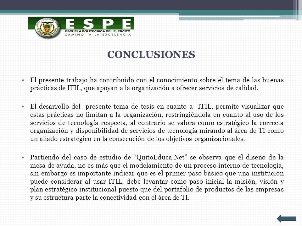 CONCLUSIONES El presente trabajo ha contribuido con el conocimiento sobre el tema de las buenas prácticas de ITIL, que apoyan a la organización a ofre