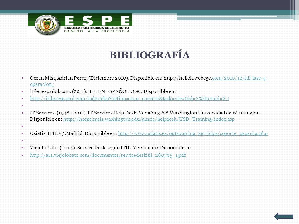 BIBLIOGRAFÍA Ocean Mist, Adrian Perez, (Diciembre 2010). Disponible en: http://helloit.webege.com/2010/12/itil-fase-4- operacion/.com/2010/12/itil-fas
