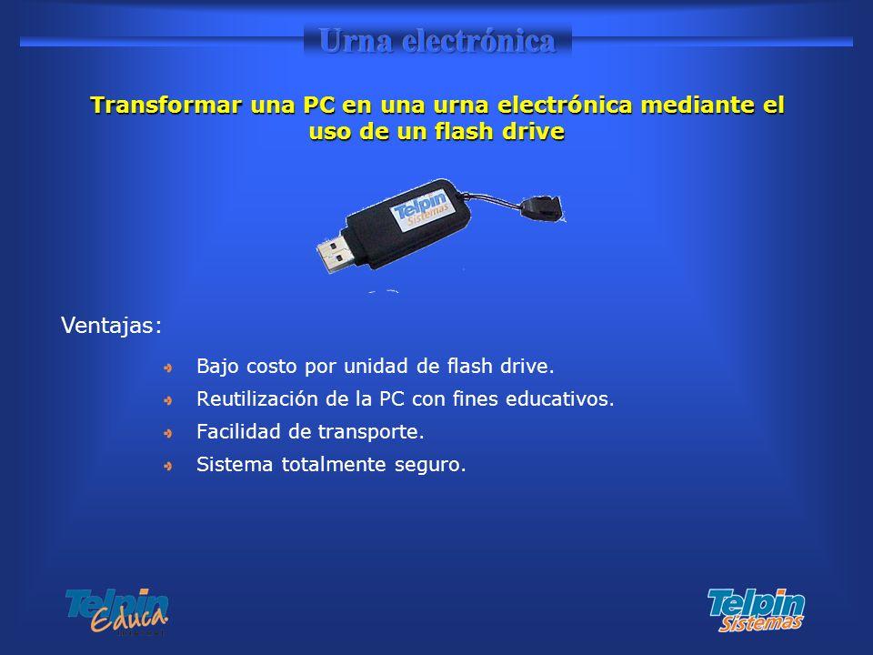 Bajo costo por unidad de flash drive. Reutilización de la PC con fines educativos. Facilidad de transporte. Sistema totalmente seguro. Transformar una