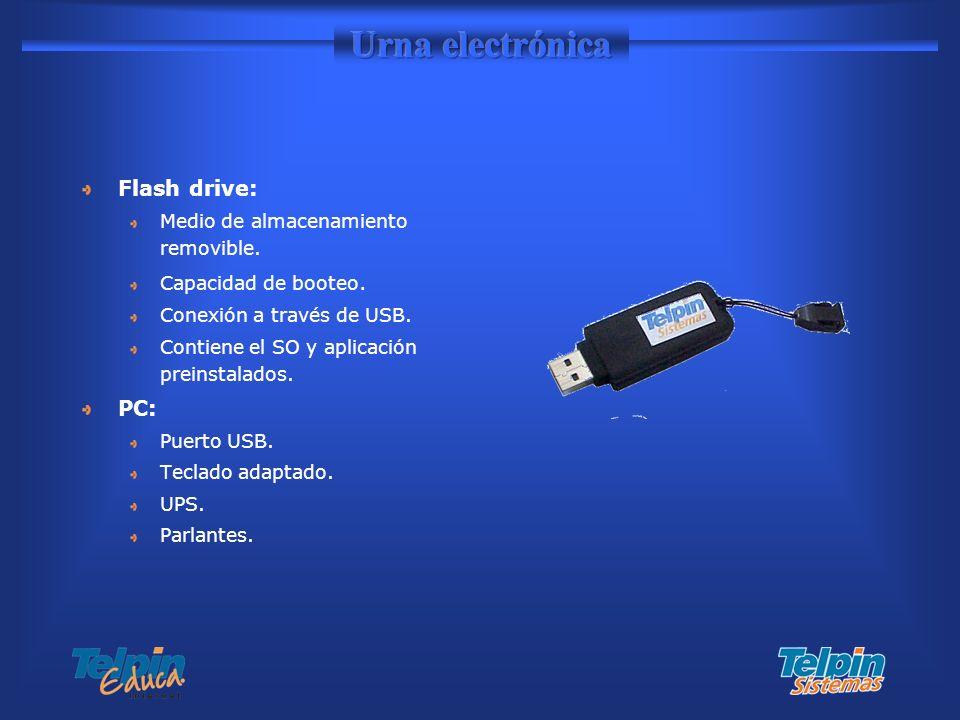 Flash drive: Medio de almacenamiento removible. Capacidad de booteo. Conexión a través de USB. Contiene el SO y aplicación preinstalados. PC: Puerto U
