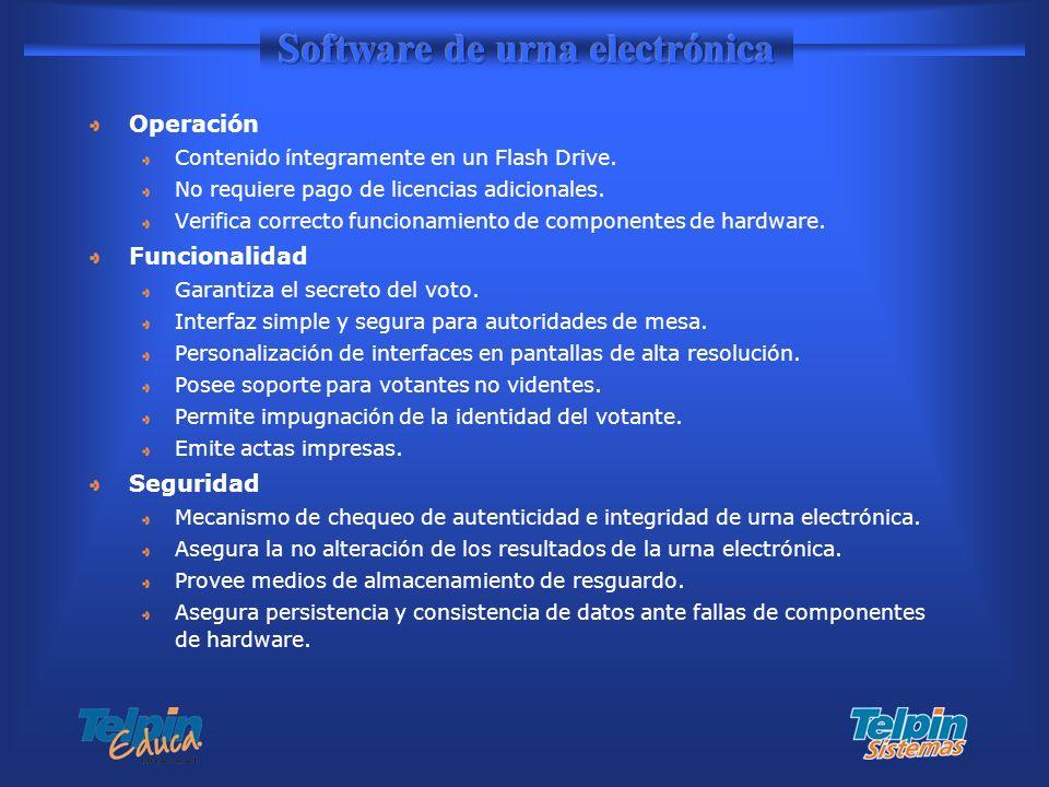 Operación Contenido íntegramente en un Flash Drive. No requiere pago de licencias adicionales. Verifica correcto funcionamiento de componentes de hard