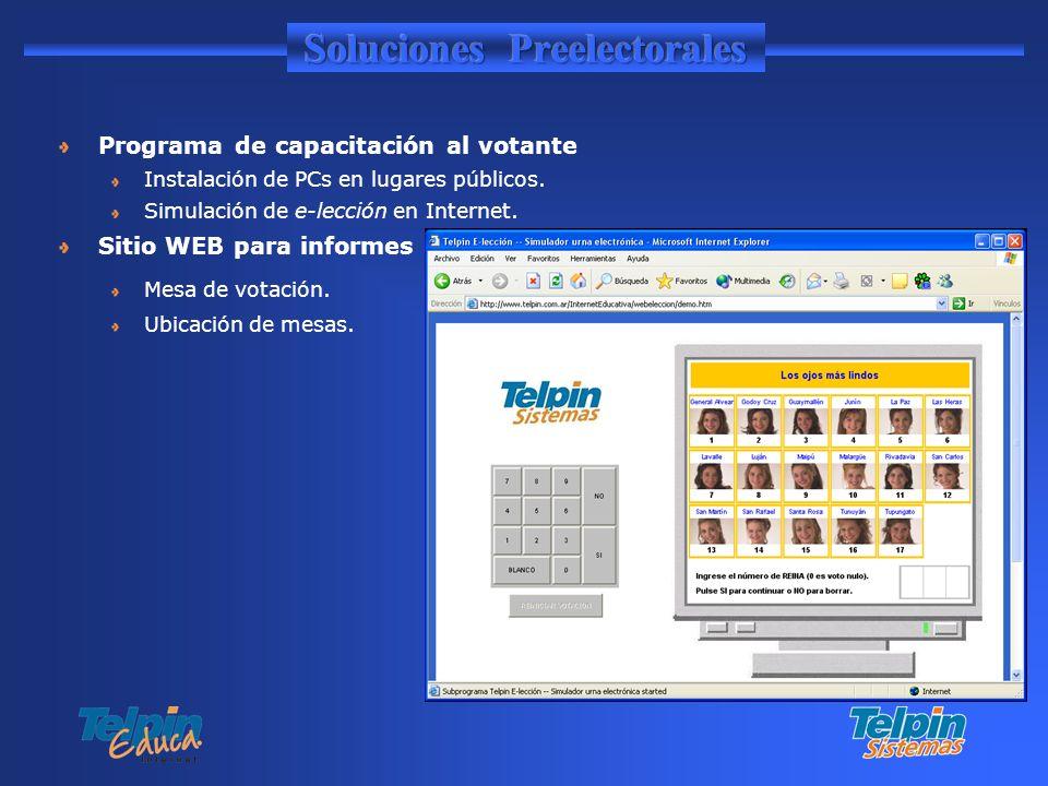 Programa de capacitación al votante Instalación de PCs en lugares públicos. Simulación de e-lección en Internet. Sitio WEB para informes Mesa de votac