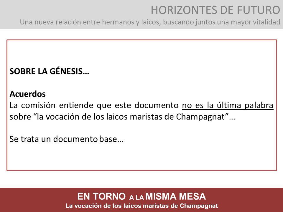 SOBRE LA GÉNESIS… Acuerdos La comisión entiende que este documento no es la última palabra sobre la vocación de los laicos maristas de Champagnat… Se
