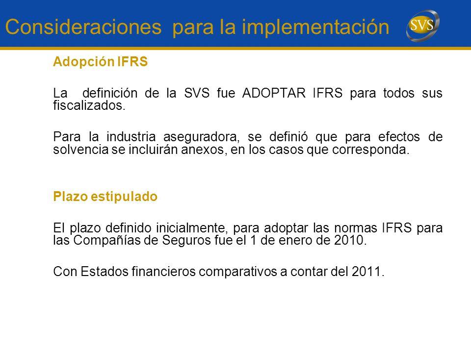 Consideraciones para la implementación Adopción IFRS La definición de la SVS fue ADOPTAR IFRS para todos sus fiscalizados. Para la industria asegurado