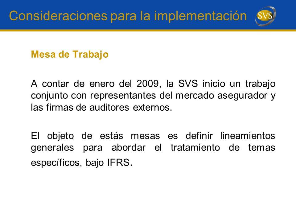 Consideraciones para la implementación Mesa de Trabajo A contar de enero del 2009, la SVS inicio un trabajo conjunto con representantes del mercado as