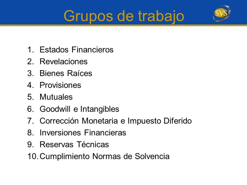 Grupos de trabajo 1.Estados Financieros 2.Revelaciones 3.Bienes Raíces 4.Provisiones 5.Mutuales 6.Goodwill e Intangibles 7.Corrección Monetaria e Impu