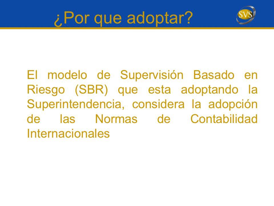 Consideraciones para la implementación Adopción IFRS La definición de la SVS fue ADOPTAR IFRS para todos sus fiscalizados.