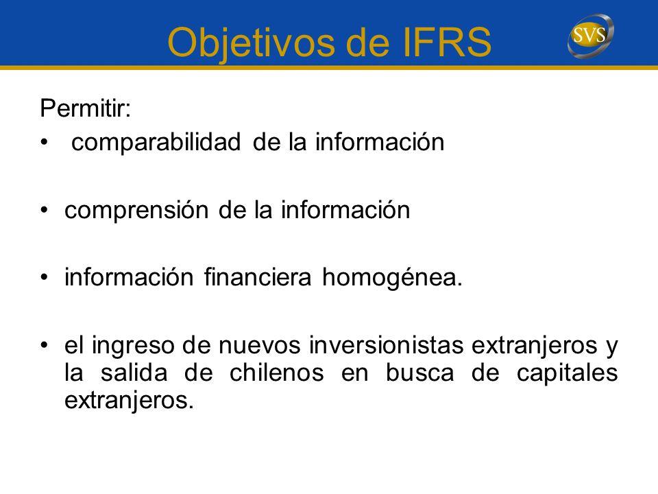 Objetivos de IFRS Permitir: comparabilidad de la información comprensión de la información información financiera homogénea. el ingreso de nuevos inve