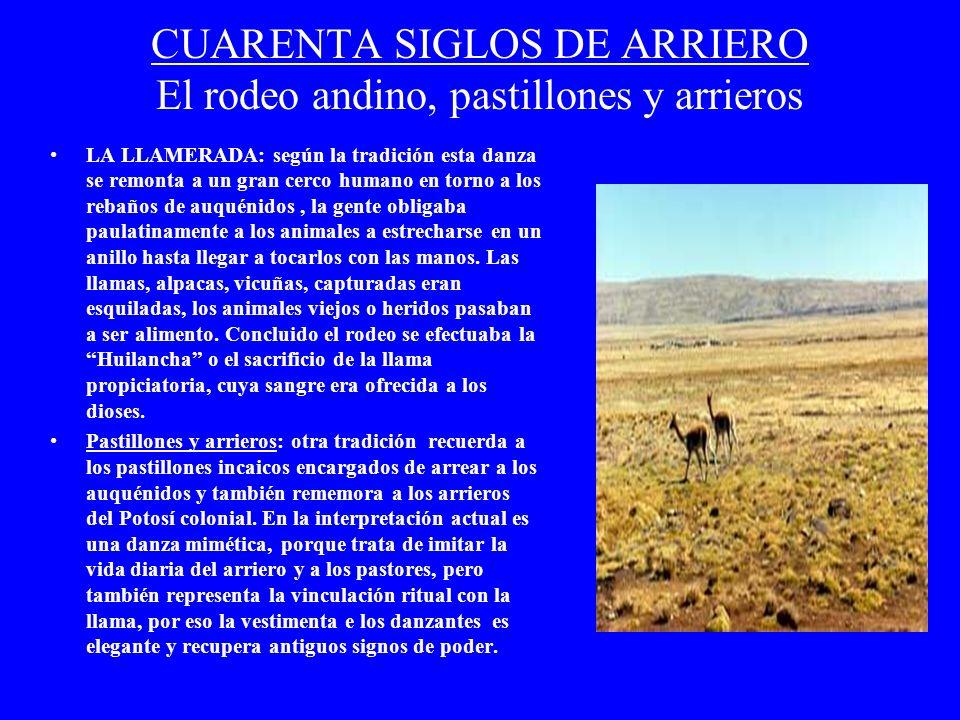 CUARENTA SIGLOS DE ARRIERO El rodeo andino, pastillones y arrieros LA LLAMERADA: según la tradición esta danza se remonta a un gran cerco humano en to