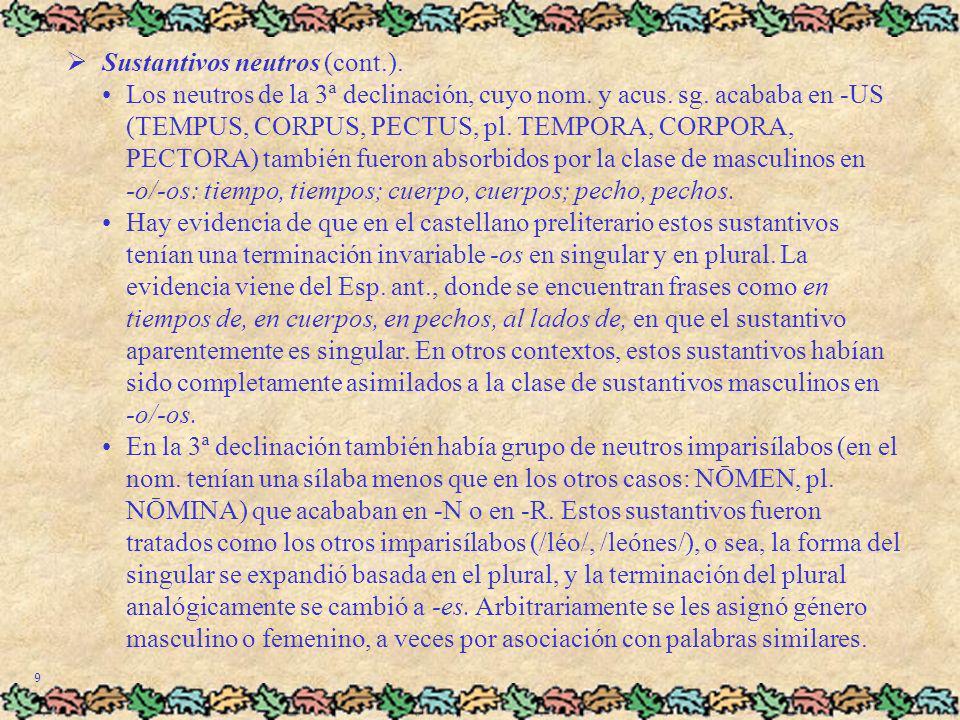 9 Sustantivos neutros (cont.).Los neutros de la 3ª declinación, cuyo nom. y acus. sg. acababa en -US (TEMPUS, CORPUS, PECTUS, pl. TEMPORA, CORPORA, PE