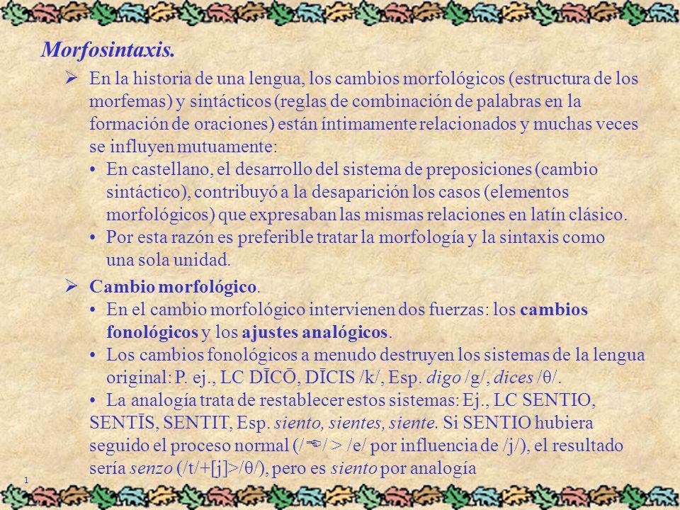 Morfosintaxis. En la historia de una lengua, los cambios morfológicos (estructura de los morfemas) y sintácticos (reglas de combinación de palabras en