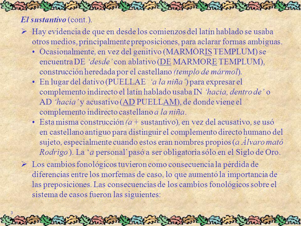 3 El sustantivo (cont.). Hay evidencia de que en desde los comienzos del latín hablado se usaba otros medios, principalmente preposiciones, para aclar