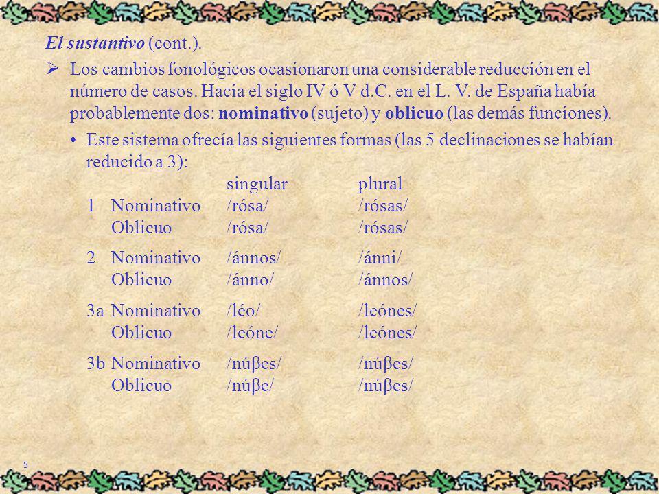 5 El sustantivo (cont.). Los cambios fonológicos ocasionaron una considerable reducción en el número de casos. Hacia el siglo IV ó V d.C. en el L. V.