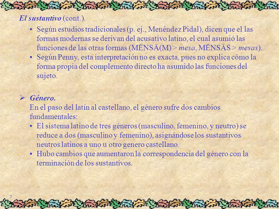 7 El sustantivo (cont.). Según estudios tradicionales (p. ej., Menéndez Pidal), dicen que el las formas modernas se derivan del acusativo latino, el c