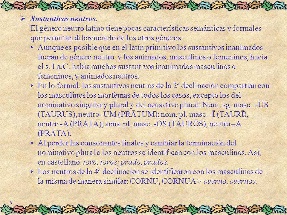 8 Sustantivos neutros. El género neutro latino tiene pocas características semánticas y formales que permitan diferenciarlo de los otros géneros:Aunqu
