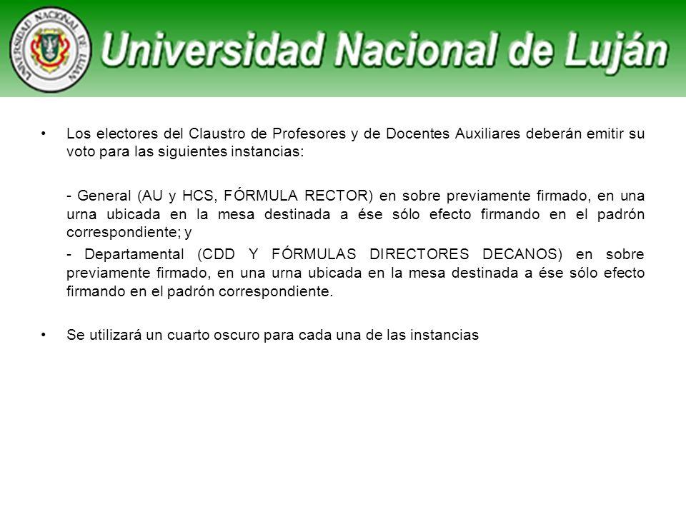 Los electores del Claustro de Profesores y de Docentes Auxiliares deberán emitir su voto para las siguientes instancias: - General (AU y HCS, FÓRMULA