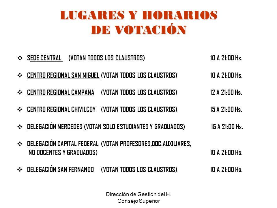 Dirección de Gestión del H. Consejo Superior LUGARES Y HORARIOS DE VOTACIÓN SEDE CENTRAL (VOTAN TODOS LOS CLAUSTROS) 10 A 21:00 Hs. CENTRO REGIONAL SA
